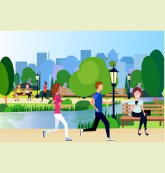 Urban city park outdoors man woman running wooden vector