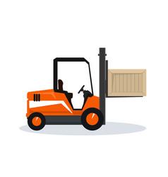 Vehicle forklift picks up a box vector