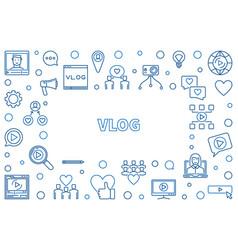 vlog concept thin line horizontal frame vector image