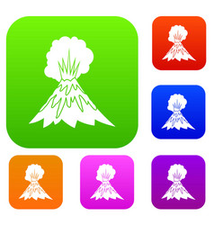 volcano erupting set collection vector image