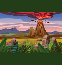 Volcano eruption background landscape plain vector