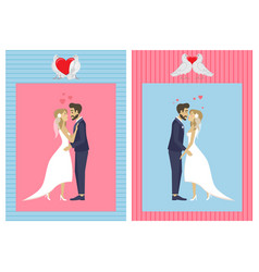wedding day bride and groom people and doves vector image