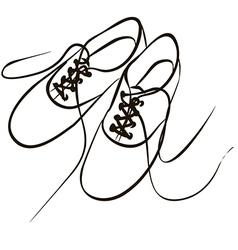 white sneakers with the laces are loose after a wa vector image