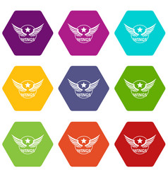 wing icons set 9 vector image