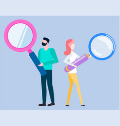 Woman man with magnifying glass isolated people vector