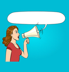 woman with megaphone pop art style vector image