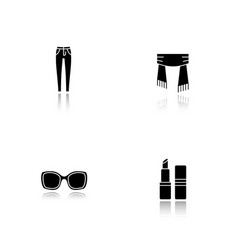 womens accessories drop shadow black glyph icons vector image