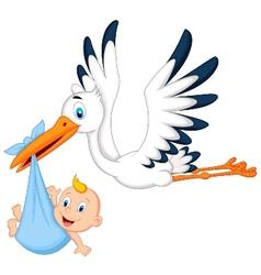 Cartoon stork carrying baby vector image