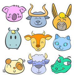 collection animal head cute doodle style vector image