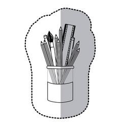 contour coloured pencils in jar icon vector image