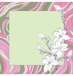 Greeting card with pink magnolia flowers vector image