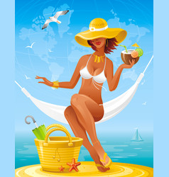 sea beach people travel banner summer holidays vector image vector image