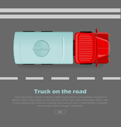 truck on road conceptual flat web banner vector image vector image