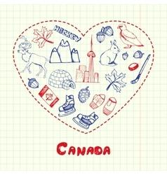 Canada Symbols Pen Drawn Doodles Collection vector image vector image