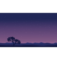 Landscape trees at night silhouettes vector image vector image
