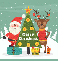 merry christmas card with santa claus and deer vector image