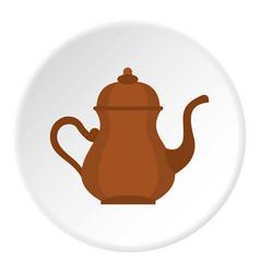 Oriental turkish kettle for tea icon circle vector