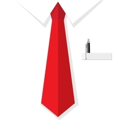 Business man shirt with red tie vector