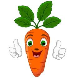 Cartoon carrot character giving thumbs up vector