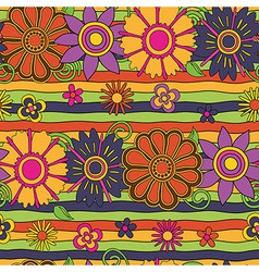 flowers and stripes psychedelic pattern vector image