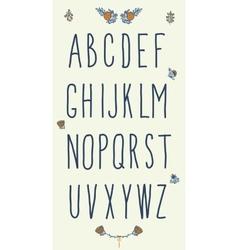 Hand drawn sketch alphabet Handwritten font vector image