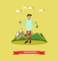 marijuana in flat style vector image
