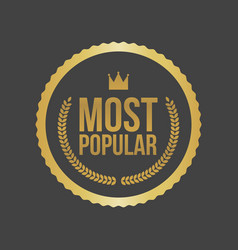 Most popular gold sign round label vector