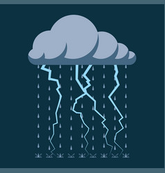 rain and lightning on the dark sky vector image