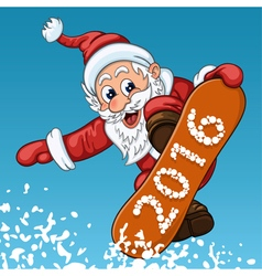 Santa Claus makes jump on the snowboard vector image vector image