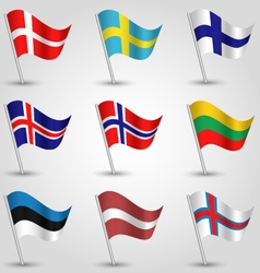 set of flags countries of northern europe vector image vector image