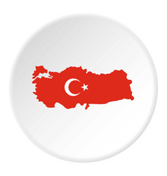 turkey map in national flag colors icon circle vector image