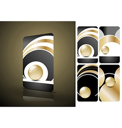 Vertical black and golden business cards vector image