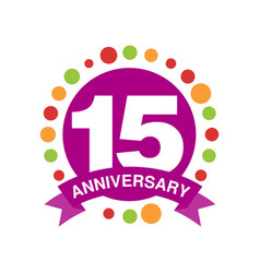 15 anniversary colored logo design happy holiday vector image