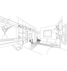 drawing of the interior vector image vector image