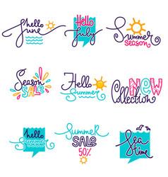 hello summer june july doodle handdrawn vector image vector image