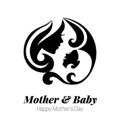 mother silhouette with her baby Card of vector image vector image