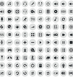 100 dj icons vector image