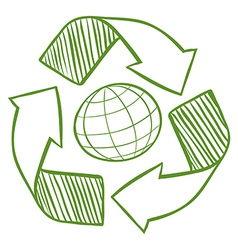 A globe surrounded by recycling signs vector