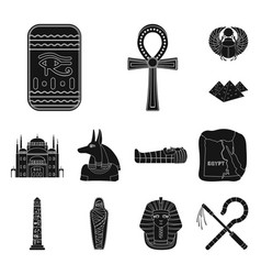 ancient egypt black icons in set collection for vector image