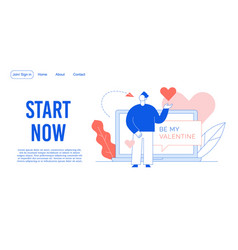 Be my valentine dating service landing page design vector