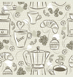 Beige seamless patterns with coffee set coffee vector