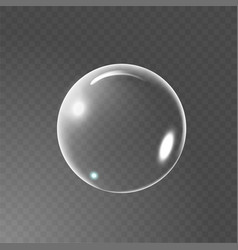 big transparent glass sphere with glares and vector image