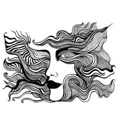 black and white psychedelic face with spiral eye vector image
