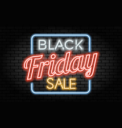 black friday sale neon frame vector image