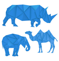 blue rhinoceros elephant and camel polygonal vector image