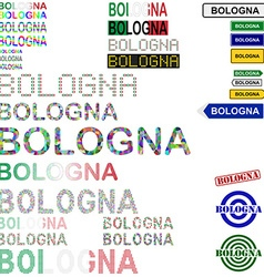 Bologna text design set vector