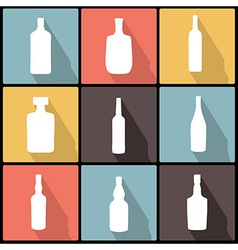 Bottle Icons in Flat Design for Web and Mobile vector image