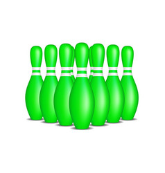 Bowling pins in green design with white stripes vector