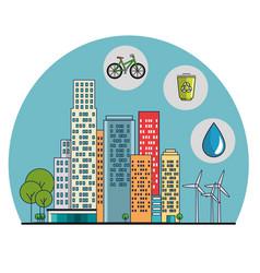 Buildings ecology green city scene vector