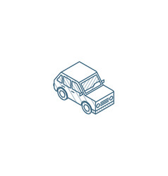 car hatchback isometric icon 3d line art vector image